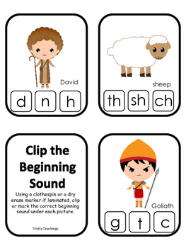 David and Goliath Beginning Sounds Clip It preschool Bible curriculum game.