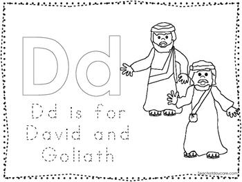 David and Goliath Color and Trace Worksheet. Preschool-Kindergarten Bible