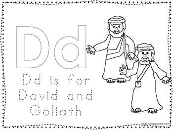 David and Goliath Color and Trace Worksheet. Preschool-Kin