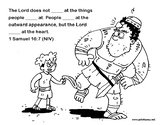 David and Goliath Coloring Sheet and Bible Verse Activity