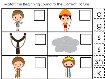 David and Goliath Match the Beginning Sound preschool Bible curriculum game.
