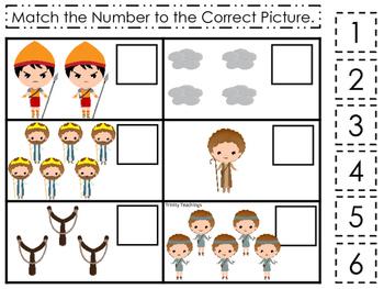 David and Goliath Match the Number preschool Bible curriculum game. Christian ma