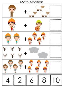 David and Goliath Math Addition preschool Christian curriculum game. Bible presc