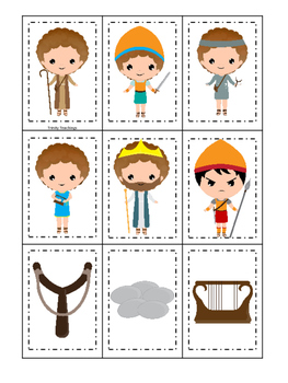 David and Goliath Memory preschool Christian curriculum game. Bible matching