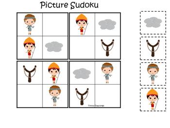David and Goliath Picture Sudoku preschool Christian curriculum game. Bible math