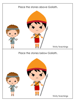 David and Goliath Positional Cards preschool Christian curriculum game. Bible ma