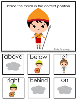 David and Goliath Positional Game preschool Christian curriculum game. Bible ma