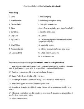 David and Goliath Reading Check Test/Quiz