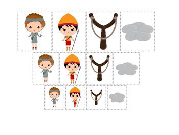 David and Goliath Size Sorting preschool Christian curriculum games. Bible math