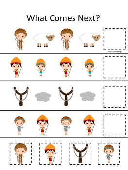 David and Goliath What Comes Next preschool Christian curriculum games. Bible ma