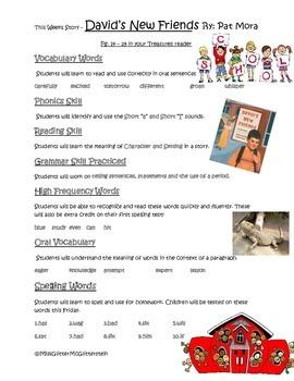 David's New Friend - Weekly Skill Sheet - 2nd Grade Treasures