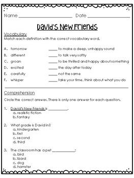 David's New Friends Quiz Treasures Grade 2