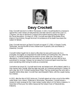 Davy Crockett Article and Assignment