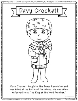 texas davy crockett coloring page craft or poster with mini biography texas