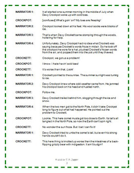 Free Davy Crockett Readers Theater Tall Tales (Twisted)-Davy Crockpot-Grades 3-6
