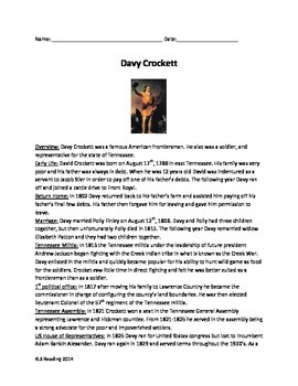 Davy Crockett - Life History Review Article Questions Vocab Activities