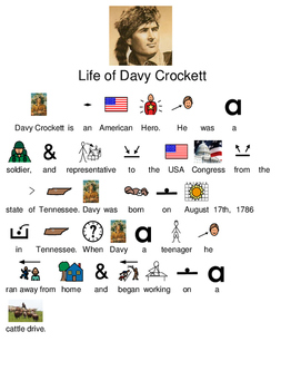 Davy Crockett - Life Story picture supported text visual supports review lesson
