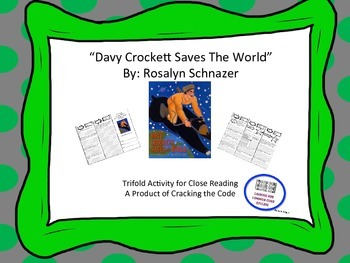 """Davy Crockett Saves the World"" Trifold Activity 5th Grade Reading Wonders"