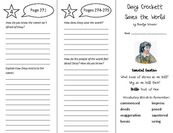 Davy Crockett Saves the World Trifold - Wonders 5th Grade Unit 4 Week 1