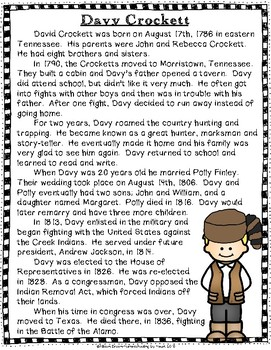 Davy Crockett Biography and Timeline Activity