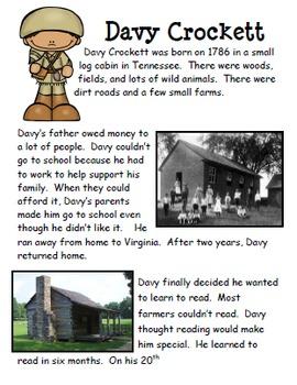 Davy Crockett Unit: PBL, Reading, Writing, Word Work