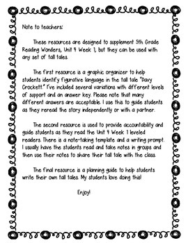 Davy Crockett/Tall Tale Guide (Reading Wonders)