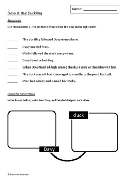 Davy & the Duckling by Margaret Wild and Julie Vivas - 5 Worksheets