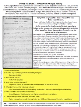 Dawes Act 1887 Document Analysis Activity Native Americans in West