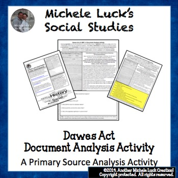 Dawes Act 1887 Document Analysis Activity Native Americans