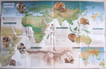 MAP Dawn of Humans National Geographic Society history evolution (Incl shipping)