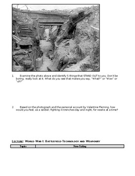 Day 095_Early Years of World War I and Weapon Technology - Lesson Handout
