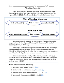Day 1 2 3 Timelines Answer Key