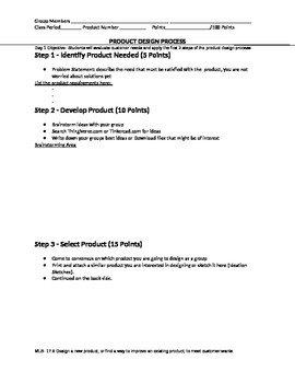 Day 1 & 2- 3-D Printer Product Design Group Project Worksheet