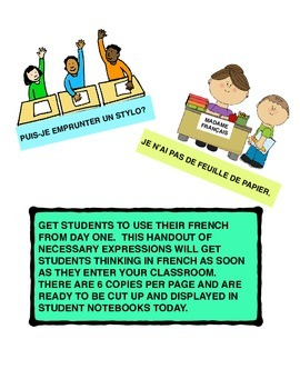 Day 1 Activities for French classroom