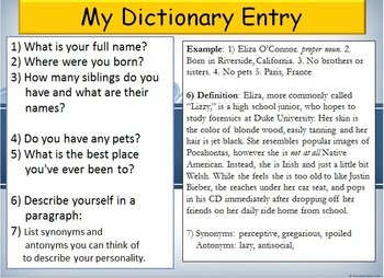 Day 1 Introduction Activities and Memoir Snapshot Writing Assignment