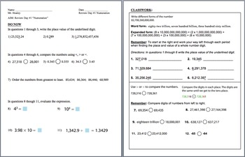 Day 1: Numeration (6th Math State Test Review)