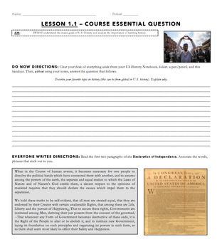 Day 1 U.S. History Lesson Bundle
