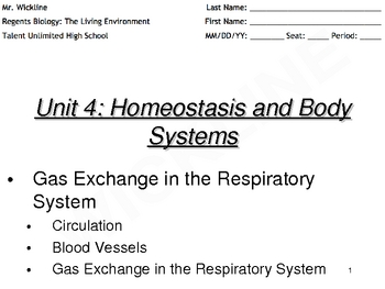 Day 1 of Gas Exchange in the Respiratory System