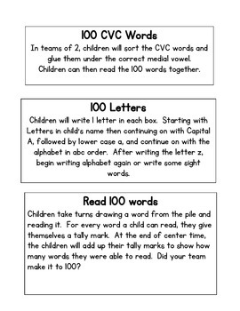 Day 100 English Language Arts Center Activities