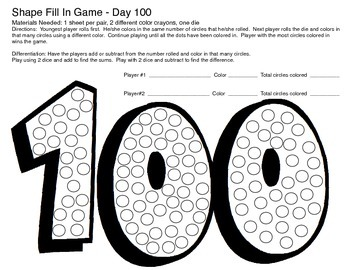 Day 100 Roll and Record Math Game