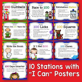 Day 100 Stations - Math, Literacy, and Art Activities