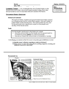 Day 104_Joseph Stalin and Totalitarian Government DBQ - Lesson Handout