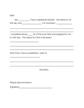 Day-After-The Substitute letter home