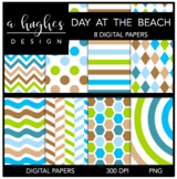 12x12 Digital Paper Set: Day At The Beach {A Hughes Design}