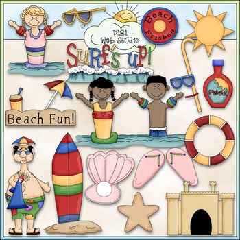 Day At The Beach Clip Art Bundle - Summer / Swimming - 2 Clip Art & B&W Sets