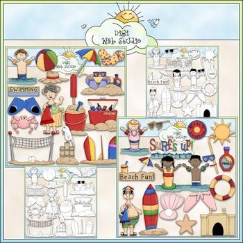 Day At The Beach Clip Art Bundle - Summer / Swimming - 2 Clip Art & B&W Sets