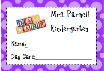 Day Care Tags-Editable
