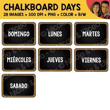 Day Chalkboard Clipart (English + Spanish)