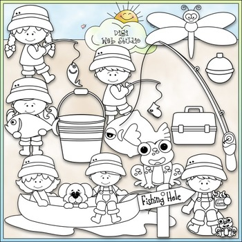 Day For Fishing Clip Art - Fishing Kids Clip Art - CU Clip Art & B&W