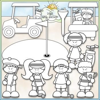 Day For Golfing Clip Art - Golfing Kids Clip Art - Golf - CU Clip Art & B&W